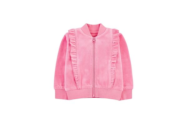 Pink Velour Zip-Through Cardigan