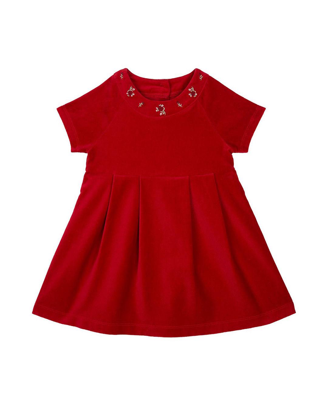 Girls Half Sleeves Dress Floral Embellished – Red