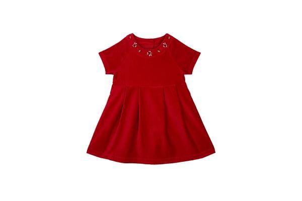 Girls Half Sleeves Dress Floral Embellished - Red