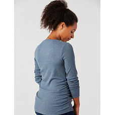 Denim Blue Ribbed Maternity Top
