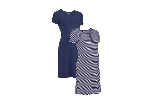 Maternity Stripe And Marl Nursing Nightdresses - Pack Of 2 - Navy