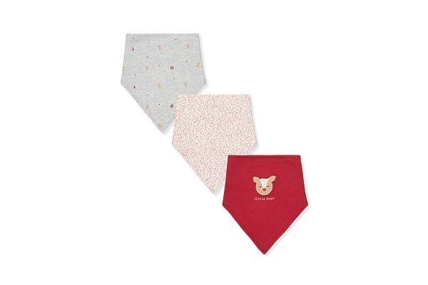 Girls Toweling Bibs Deer Embroidery And Animal Print - Pack Of 3 - Red White Grey