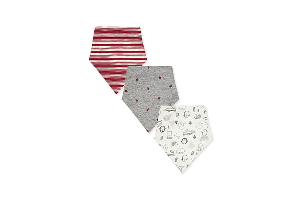 Boys Toweling Bibs Stripe, Star And Animal Print - Pack Of 3 - White Grey Red