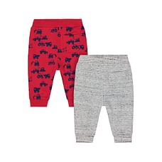 Boys Joggers Tractor Print - Pack Of 2 - Red Grey
