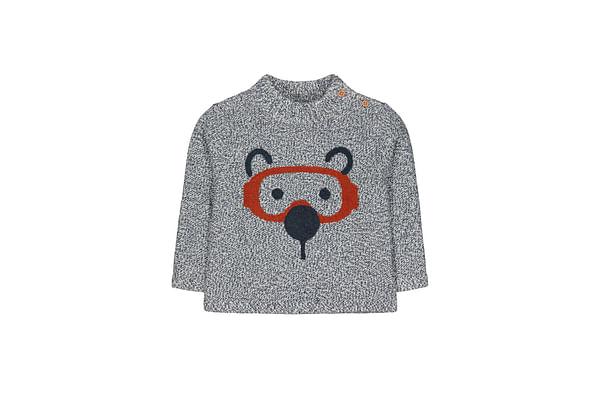 Grey Bear Face Knit Jumper