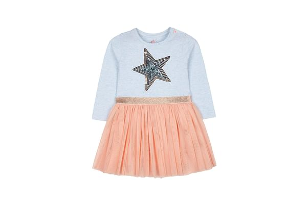Blue Sequin Star Fairy Twofer Dress