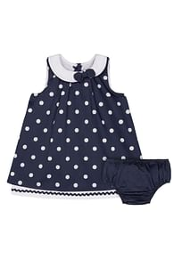 Heritage Navy Spot Dress And Knickers Set