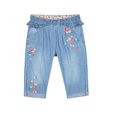 Girls Jeans Floral Embroidery With Bow - Blue