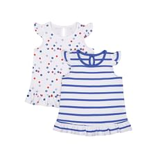 Girl Sleeveless Top Stripe White 2 Pack