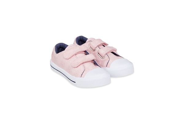Pink Broderie Canvas Trainers