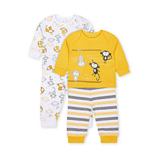 Boys Full Sleeves Monket Print Pyjamas - Pack Of 2 - Multicolor