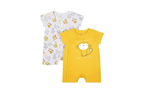 Boys Half Sleeves Rompers Monkey Print And Embroidery - Pack Of 2 - Yellow White
