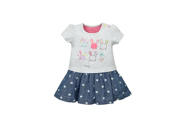 Girls Bunny 2 In 1 Denim And Jersey Dress