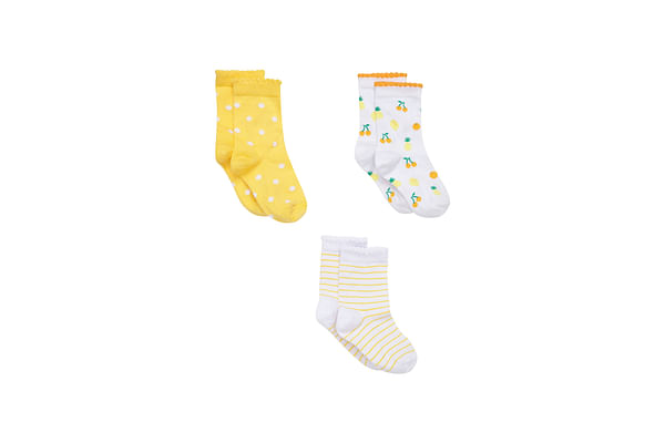 Girls Fruity Stripy Spotty Socks- Pack Of 3