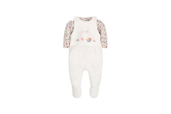 Girls Floral Bodysuit And Dungaree Set - Multicolor