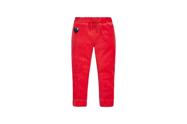 Girls Velour Joggers - Red