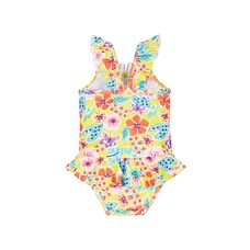Girls Floral Frill Swimsuit