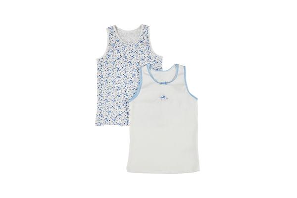 Girls Floral Vests - 2 Pack - Blue