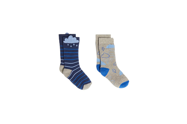 Boys Cloud Thermal Welly Socks - 2 Pack - Blue