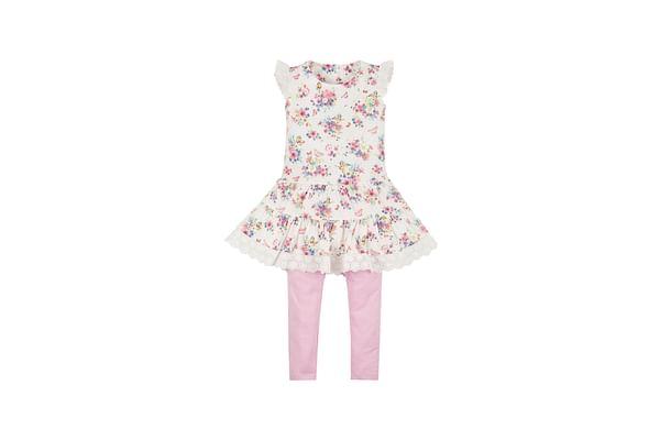 Girls Floral Dress And Leggings Set