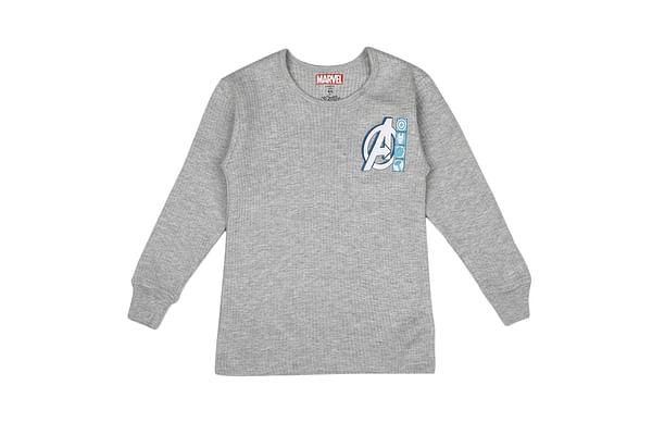 Boys Avengers Full Sleeves Thermal Top - Grey