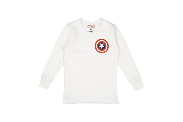 Boys Captain America Full Sleeves Thermal Top - White