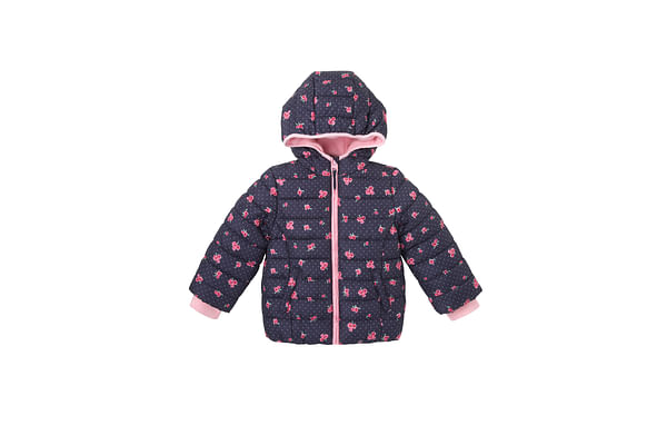 Girls Full Sleeves Jackets Padded Floral Print - Navy