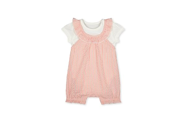 Girls Half Sleeves Striped Dungaree Set - Pink
