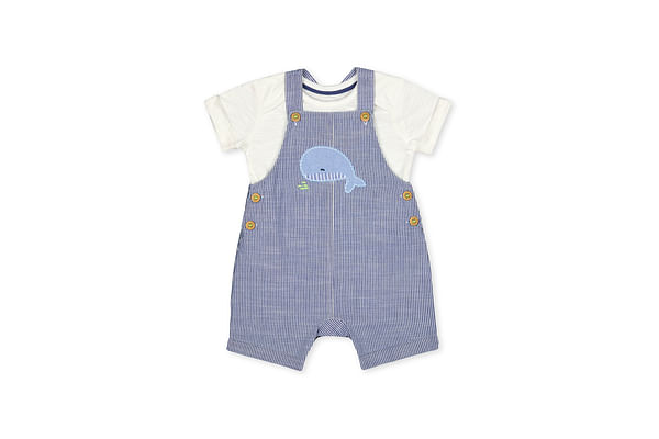 Boys Half Sleeves Whale Patch Work Dungaree Set - Blue