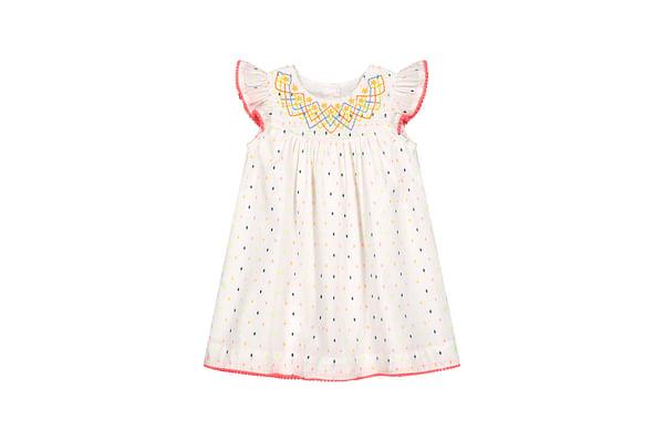Girls Half Sleeves Embroidered Dobby Dress - White