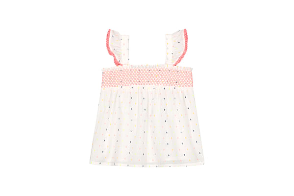 Girls Sleeveless Lace Details Top - White
