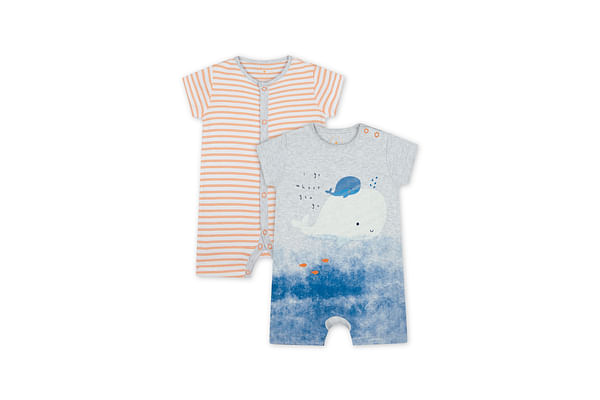 Boys Half Sleeves Whale Print And Striped Romper - Pack Of 2 - Multicolor