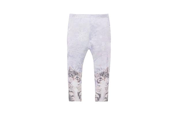 Girls Cat Leggings - Cream