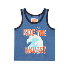 Boys Ride The Waves Vest - Navy