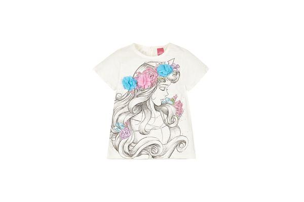 Girls Disney Princess Aurora T-Shirt - Cream