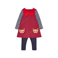 Girls Cat Dress And Leggings Set - Red