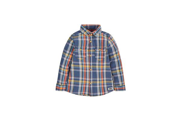 Boys Denim Look Check Shirt - Indigo