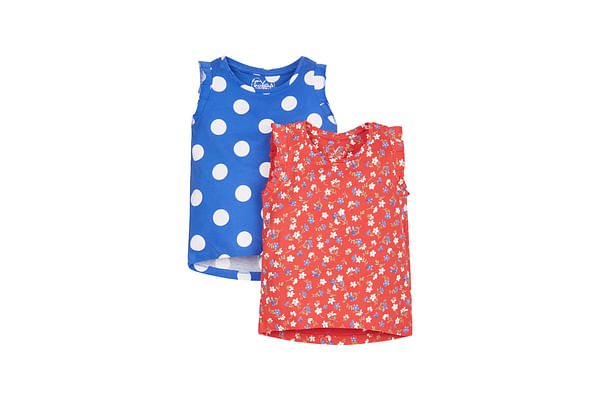 Girls Spotty And Floral T-Shirts - 2 Pack - Multicolor