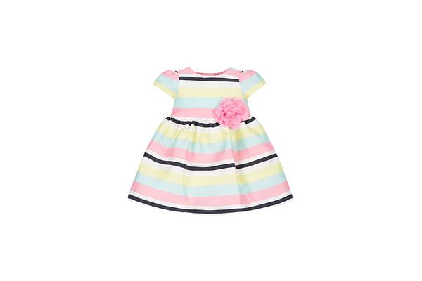 Girls Jacquard Stripe Prom Dress - Pink