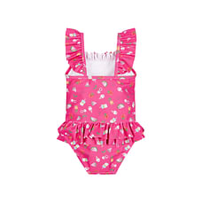 Girls Tropical Fruit Frilled Swimsuit - Pink