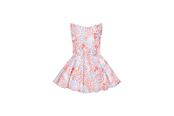 Girls Floral Pom Pom Dress - White