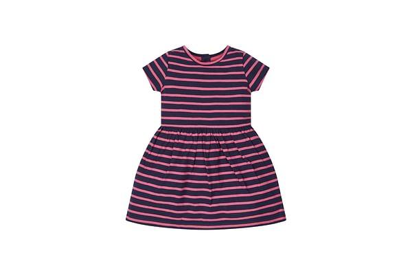 Girls Stripe Dress - Navy