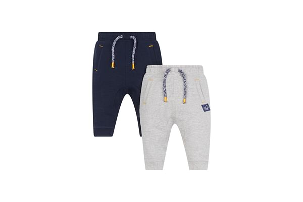 Boys Grey Marl And Navy Joggers - 2 Pack - Grey And Blue