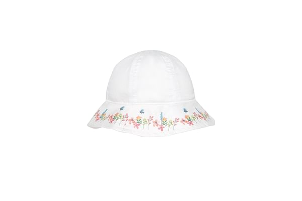 Girls Floral Sun Hat - White