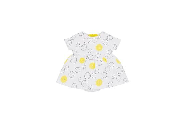 Girls Sunshine Faces Romper Dress - Yellow