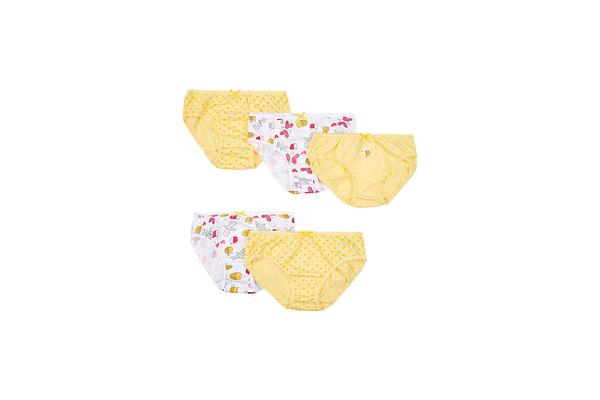 Girls Spotty Bee Briefs - 5 Pack - Yellow