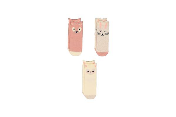 Girls Animal Socks - 3 Pack - Multicolor