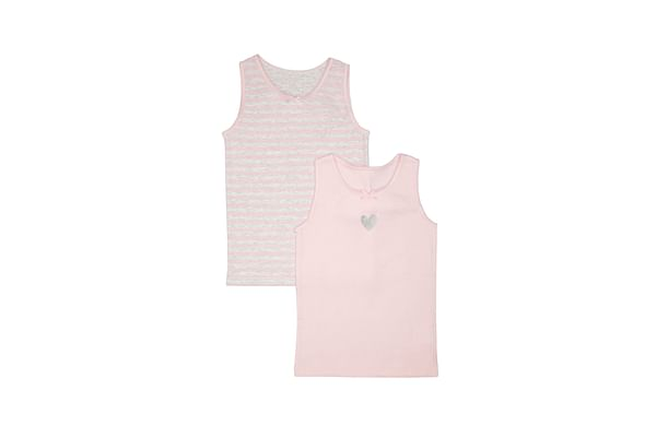 Girls Heart And Stripe Vests - 2 Pack - Pink