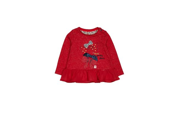 Girls Heritage Bow T-Shirt - Red