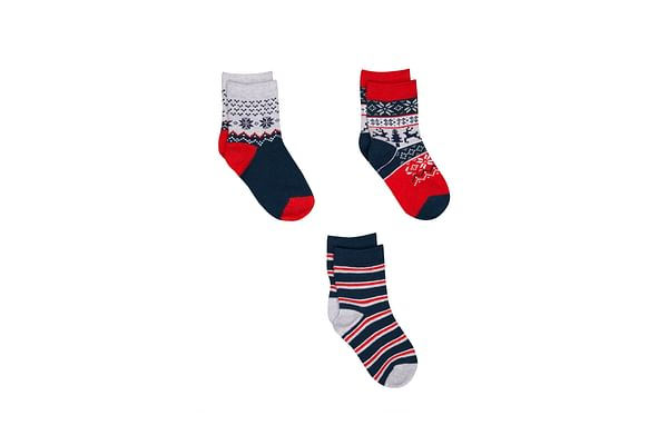 Boys Fairisle Socks - 3 Pack - Red